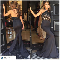 Stunning Mermaid Prom Dress 2016 Sexy Low Back Halter Top Appliqued Lace Stain Black Strapless Prom Dress Robe De Bal 2016