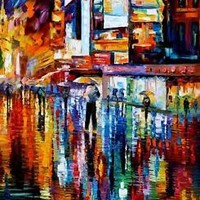 """THE VIBRATION OF THE NIGHT — Oil Painting On Canvas By Leonid Afremov. 30""""x36"""""""