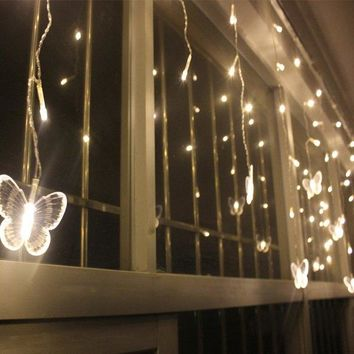 Christmas Butterfly Pendant LED String Light Indoor Party Decor