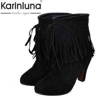 Big size 34-47 2017 New Fashion Women Shoes Party Spring Autumn Tassels Suede Nubuck Leather High Heels Ankle Boots