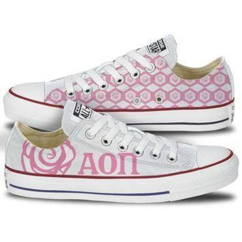 DCCKHD9 Alpha Omicron Pi Converse Low Top Pink Pattern