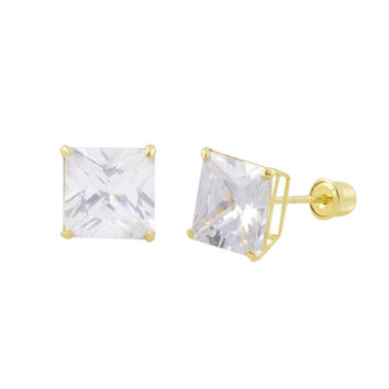 Square Princess Cut Clear CZ Stud Earrings Screwbacks 14k Yellow Gold BASKET Set