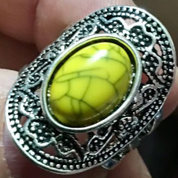 Yellow Oval Fashion Ring Size 9