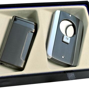 Visol Gunmetal Kompano Lighter and Axe Cigar Cutter Gift Set