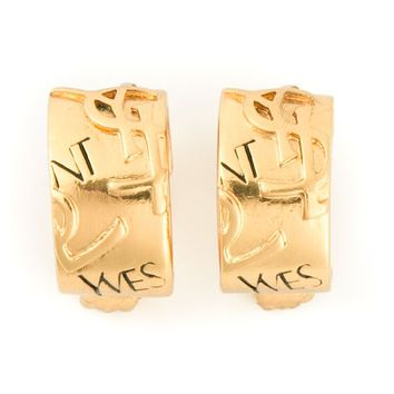 Yves Saint Laurent Vintage YSL embossed hoop clip-on earrings