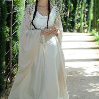 Made by Order: Sleeping Beauty Costume Elvish, Medieval, Pre- Raphaelite, Gothic, Faery white medieval dress