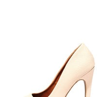 Save the Date Nude Snakeskin Pointed Pumps