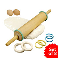 Hampton Direct Set of 8 Rubber Rolling Rings Baking Supplies 4 Different Sizes