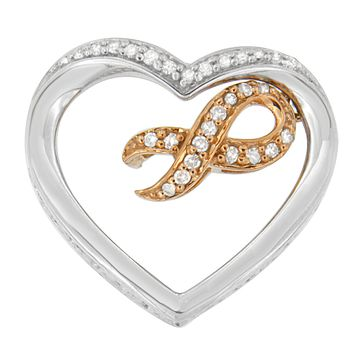 10k Rose Gold-Plated Sterling Silver Heart-Shaped 1/6 CTTW Round Diamond Heart and Ribbon Pendant Necklace (H-I, I1-I2)