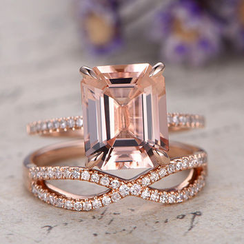 Rose Gold Morganite Engagement Ring Diamond Bridal Set 8x10mm Emerald Pink Morganite Thin Pave Stacking Band 14k/18k