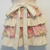 Cottage Chic Pink Roses and China Half Apron with by Eclectasie
