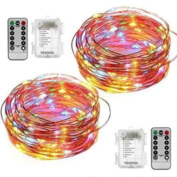 2 Set String Lights 8 Modes Fairy Lights 50 LED 16.4FT Fairy String Lights Battery Operated Firefly Light with Remote for Garden Halloween Thanksgiving Christmas New Year Decoration(Multicolor)