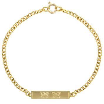 """18k Gold Plated Tag ID Butterfly Identification Bracelet for Toddler Girls 6"""""""