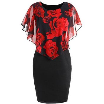 S-5XL Plus Size Rose Valentine Overlay Capelet Dress 2018 Summer O-Neck Short Sleeve Women Party Bodycon Dresses Vestidos Robe