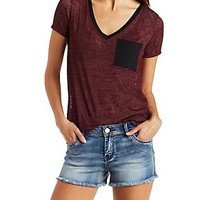 MARLED V-NECK RINGER TEE WITH POCKET