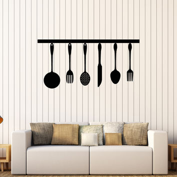 Vinyl Wall Decal Kitchen Utensils Cooking Chef and Cook Stickers Unique Gift (574ig)