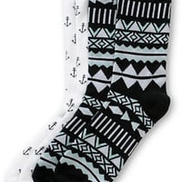 Empyre 2 Pack Jamie Tribal Anchor Crew Socks