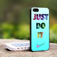 Nike Just Do It Glitter Mint - For iPhone 4,4S Black Case Cover