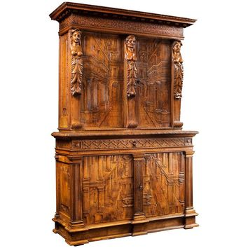 French Perspectives Carved Cabinet from Lyon