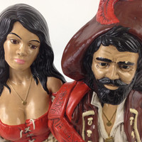 Vintage Ceramic Pirate and Wench Busts Beautiful Busty Pirate Wench Statue Pirate Captian Statue Yo Ho Ho Vintage Holland Pirate Molds