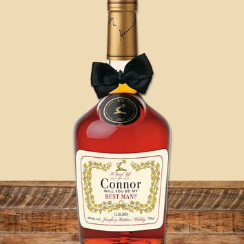 Personalized Sticker Label for Cognac Bottle | Custom Favor Gift Tag for WEDDING | Groom, Best Man, Groomsmen, Bachelor Party, CHEERS!