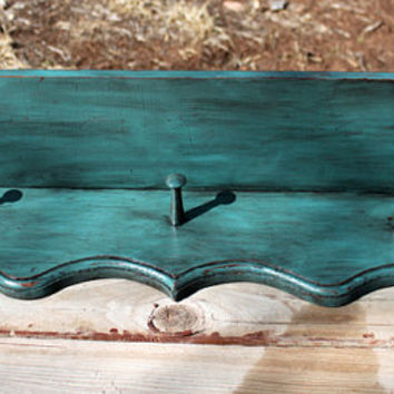 Large Dark Turquoise Distressed Wood Chippy Painted Ornate Scrolly Accent Shelf Coat Hat Cap Rack Pegs Rustic Western Ranch Lodge Cabin Chic