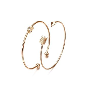 NS54 2PCSVintage Gold Color Tie Knot Bracelet Bangles Simple Twist Cuff Open Bangles For Women Indian Jewelry Costume Jewellery