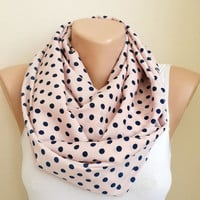 Pink Polka Dots Infinity Scarf, Pink Scarf, Polkadots Scarf Women Accessories