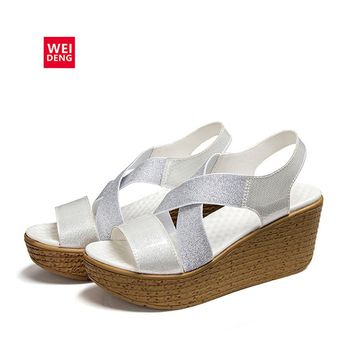 WeiDeng 2017 Women Geunine Leather Casual Clogs Platform Lady Sandals Fashion Wedge Heel Soft High Summer Shoes
