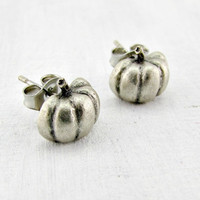 Vintage Pumpkin Earrings, Tiny Silver Stud Post Earrings, 1970s Vintage Jewelry, Gift for Teenage Girl, Cute Gift for Friend Girlfriend