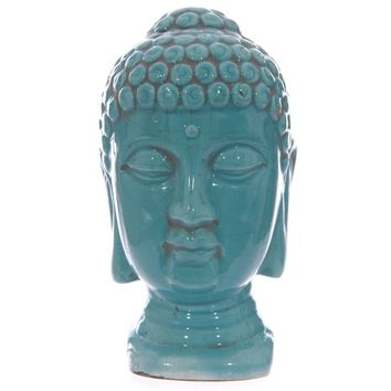 Turquoise Crackle-Glaze Thai Buddha Head 18cm