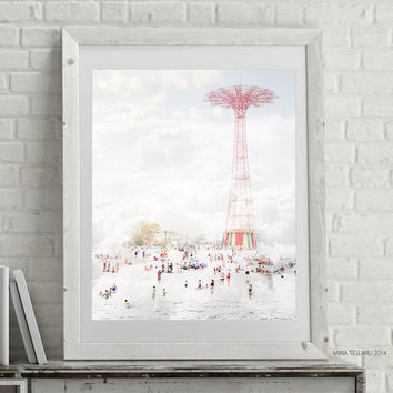 "Coney Island Art, Coney Island Poster, Beach Photography, Beach Print - ""Coney Island Parachute Jump"""