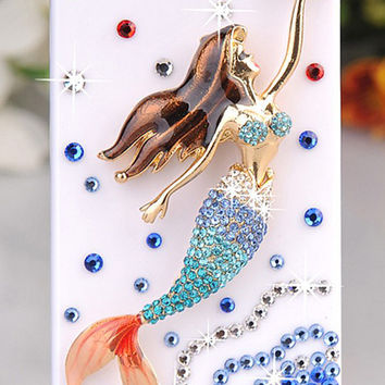 Bling iphone5 case Swarovski Crystal mermaid iphone 5 case iphone 4 case samsung galaxy s3 s4 case note 2 case Blackberry Z10 case