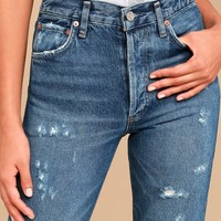 AGOLDE Jamie High Rise Medium Wash Distressed Cropped Jeans