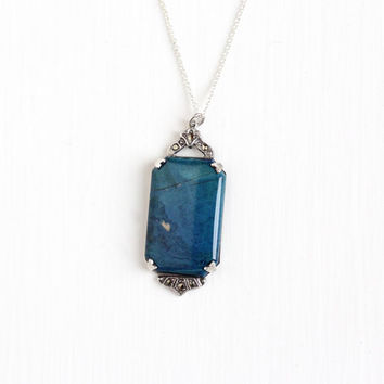 Vintage Sterling Silver Blue Jasper & Marcasite Pendant Necklace - 1920s Art Deco Large Genuine Dark Blue Gem Marcasite Statement Jewelry