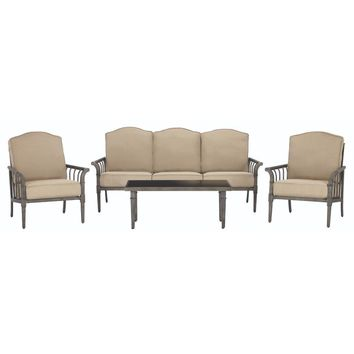 Home Decoration Chesterfield Park All-Weather Metal Deep Seating Set with Beige Cushions (4-Piece)