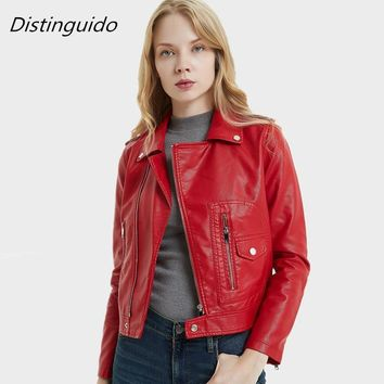2018 New Fashion Women Faux Leather Jackets Lady Autunm Winter Wine Red Bomber Motorcycle Cool Outerwear Coat MJK1801