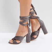 Glamorous Knot Tie Up Block Heeled Sandals at asos.com