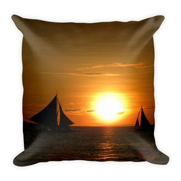 Sailboat Decorative Throw Pillow For Couch Chair Bed, Cushion Accent