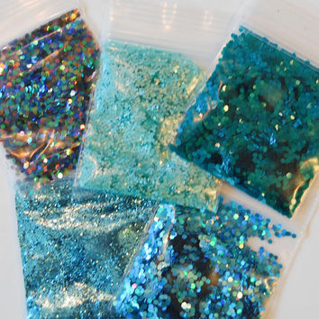 Teal and Turquoise Solvent Resistant Glitter Sampler Set of 5 for Glitter Nail Art and Glitter Crafts