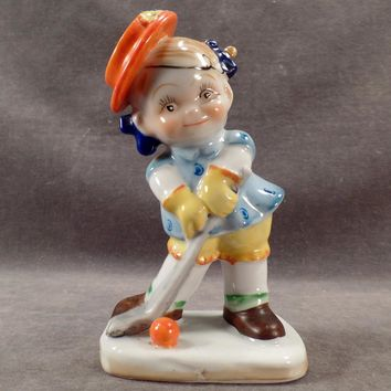 Vintage Occupied Japan Figurine – Little Girl Playing Golf