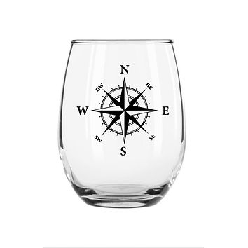 Nautical Compass Stemless Glass