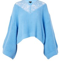 Lace Detail Cropped Jumper - Clothing