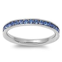 Stainless Steel Eternity Blue Cz Wedding Band Ring 3mm (Size 3,4,5,6,7,8,9,10); Comes with Free Gift Box