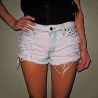 Pink and Blue Studded Shorts