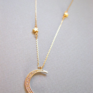 Crescent Moon Necklace, Gold Crescent Moon Necklace, Layer Necklace Moon, Long Layering Crescent Moon Necklace by ShebasGems