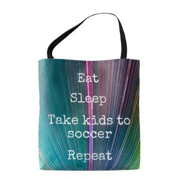 """""""Eat Sleep Repeat, Soccer"""" quote teal tote bag"""