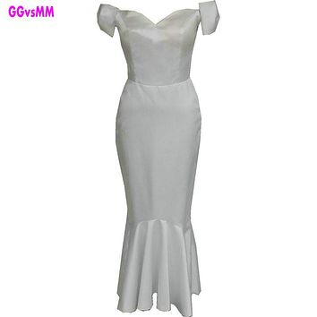 Simple Style Fashion White/Ivory Mermaid Evening Dresses 2017 New Sexy Sweetheart Tea-Length Prom Dress Long Evening Party Gown