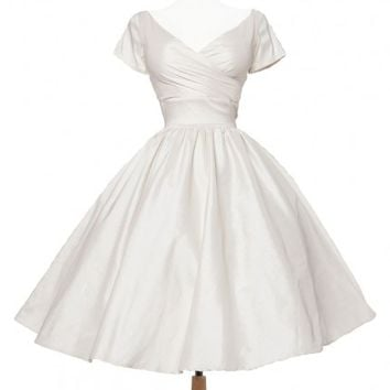 Ava Swing Dress in Ivory Taffeta