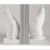 "Set of 2 White Distressed Finish Religious Angel Wing Bookends 9.75"" - Walmart.com"
